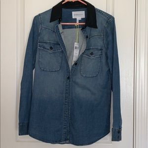 New BCBG jean shirt/jacket w/leather collar